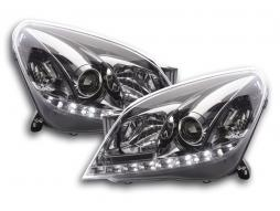 Scheinwerfer Set Daylight LED TFL-Optik Opel Astra H chrom