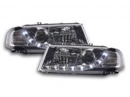 Scheinwerfer Set Daylight LED TFL-Optik Skoda Octavia Typ 1U Bj. 01-04 chrom