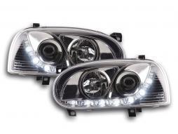 Scheinwerfer Set Daylight LED Tagfahrlicht VW Golf 3 Bj. 91-97 chrom