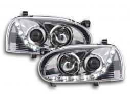 Scheinwerfer Set Daylight LED Tagfahrlicht VW Golf 3 Bj. 91-97 chrom für Rechtslenker