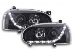 Scheinwerfer Set Daylight LED Tagfahrlicht VW Golf 3 Bj. 91-97 schwarz für Rechtslenker