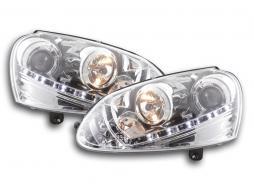 Scheinwerfer Set Daylight LED TFL-Optik VW Golf 5 Typ 1K Bj. 03-08 chrom für Rechtslenker