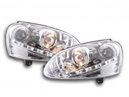 Tagfahrlicht Scheinwerfer Daylight VW Golf 5 Typ 1K Bj. 03-08 chrom für Rechtslenker