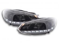 Scheinwerfer Set Daylight LED Tagfahrlicht VW Golf 6 Typ 1K Bj. 08- schwarz für Rechtslenker