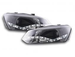 Scheinwerfer Set Daylight LED Tagfahrlicht VW Polo 6R Bj. 09- schwarz für Rechtslenker