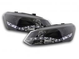 Scheinwerfer Set Daylight LED TFL-Optik VW Polo Typ 6R Bj. 2010- schwarz