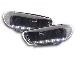 Scheinwerfer Set Daylight LED TFL-Optik VW Scirocco 3 Typ 13 Bj. 08- schwarz