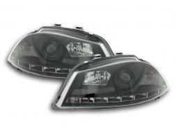 Scheinwerfer Set Daylight LED TFL-Optik Seat Ibiza Typ 6L Bj. 03-08 schwarz