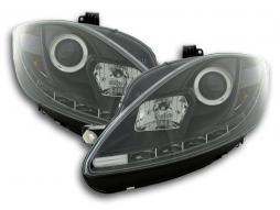 Scheinwerfer Set Daylight LED TFL-Optik Seat Leon 1P Bj. 09- schwarz