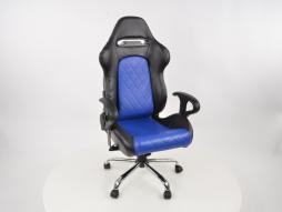 Office chair with armrests Detroit sports seats, leather black / blue, 2nd Hand