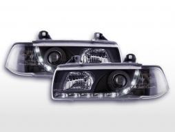 Scheinwerfer Set Daylight LED Tagfahrlicht BMW 3er E36 Limousine  92-98 schwarz