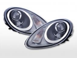 Headlight set Xenon Daylight LED DRL look Porsche Boxster (987) 04-08 silver