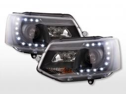 Headlight set Daylight LED daytime running lights VW Bus T5 from 2009 black