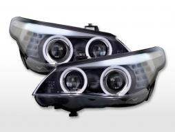 Headlights xenon angel eyes BMW 5-series E60 / E61 07-10 black