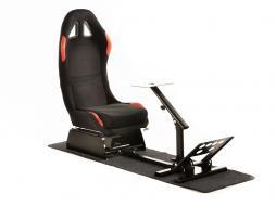 FK Gamesitz Spielsitz Rennsimulator eGaming Seats Suzuka schwarz/rot mit Teppich