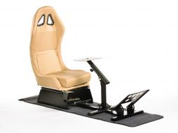 FK Gamesitz Spielsitz Rennsimulator eGaming Seats Suzuka Carbonlook gold mit Teppich