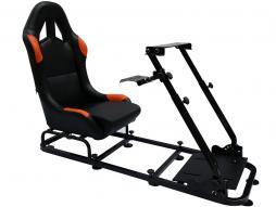 siège de jeu pour PC et consoles de jeux faux cuir noir/orange