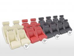 Sportseat Set Montgomery artificial leather black seam Red /