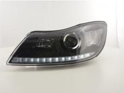 Daylight Headlight Skoda Oktavia from Yr. 2009 black with LED parking light funktion