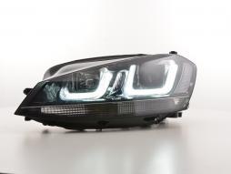 Scheinwerfer Set Daylight LED Tagfahrlicht VW Golf 7 Bj. ab 2012 schwarz/schwarz