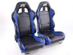 Sportseat Set Boston artificial leather black/blue