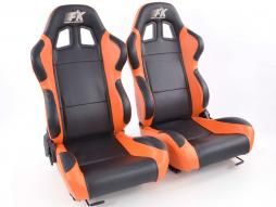Sportseat Set Boston artificial leather black/orange