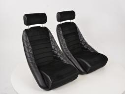 coppia di sedili sportivi classico 3 pelle artificiale nero con poggiatesta