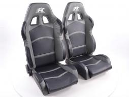 Sportseat Set Cyberstar artificial leather black/grey