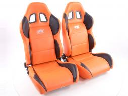 Sportseat Set Houston artificial leather orangeblack seam orange