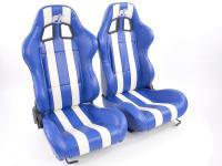 FK Sportsitze Auto Halbschalensitze Set Indianapolis Kunstleder blau/weiß