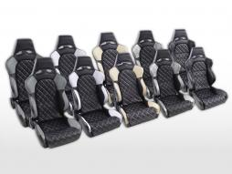 Sportseat Set Las Vegas artificial leather black/white seam white