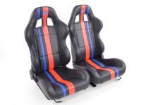 sedile sportivo sedile da corsa coppia di sedili destra + sinistra nero/rosso/blu con guide
