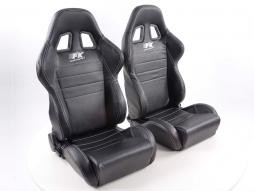 Sportseat Set Sacramento artificial leather black seam white