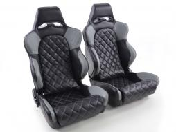 Sportseat Set Las Vegas artificial leather black/Grey back made of GFK