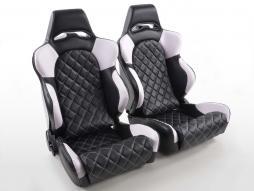FK Sportsitze Auto Halbschalensitze Set Las Vegas in Motorsport-Optik mit Steppung schwarz/weiß