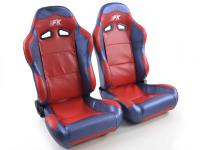 Sportseat Set Spacelook Carbon artificial leather red /blue