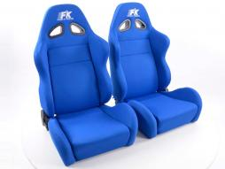 FK Sportsitze Auto Halbschalensitze Set Sport Stoff blau