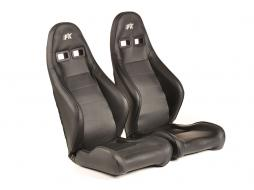 FK sport seats half bucket seats Set Dortmund artificial leather black  white