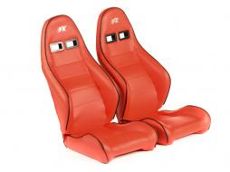 FK sport seats half bucket seats Set Dortmund artificial leather red  white