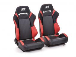 FK sport seats half bucket seats Set Frankfurt artificial leather black/red