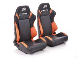 FK sport seats half bucket seats Set Frankfurt artificial leather black/orange