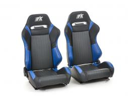 FK sport seats half bucket seats Set Frankfurt artificial leather black/blue