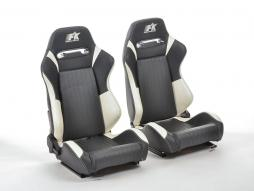 FK sport seats half bucket seats Set Frankfurt artificial leather black/white
