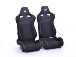 FK sedili sportivi sedili di due pezzi Set Köln in pelle artificiale/Stoff nero