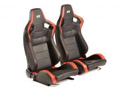FK sport seats half bucket seats Set Bremen artificial leather black/red Carbon-Look