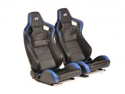 FK sport seats half bucket seats Set Bremen artificial leather black/blue Carbon-Look