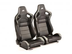 FK sport seats half bucket seats Set Köln artificial leather black/grey Carbon-Look