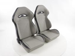 Sportseat Set Halbschalensitz artificial leather grey seam black