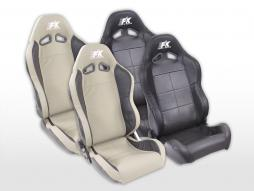 Sportseat Set Speed Real leather black/grey
