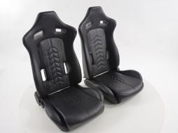Sport Seat Set half bucket seat synthetic Leather black seam black